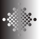 Vector design elements. Linear gradient halftones. Rhombus with dots in black and white, at the background with opposite colors.