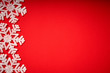 beautiful christmas white stars on a red background