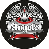 Motorcycle labels, badges. Vector illustration for club Angels.