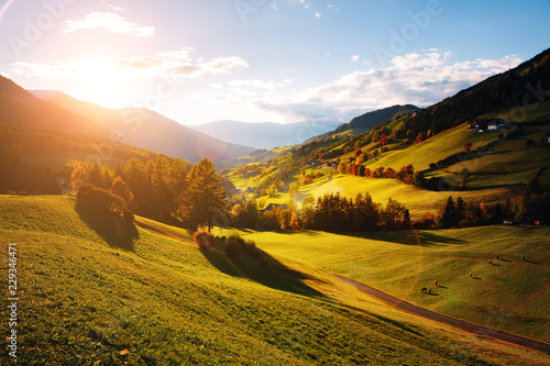 Leinwanddruck Bild Magic image of alpine hills in Santa Magdalena village.