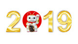 Golden metal letters 2019 with japanese maneki neko (lucky cat) isolated on white background - 229351638