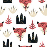 Hand drawn pattern with fox