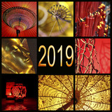 2019, Asia red and gold zen photo collage - 229352427