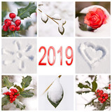 2019, snow and winter red and white nature photos collage - 229352804