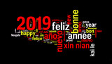 2019 word cloud on black background, new year translated in many languages - 229353000