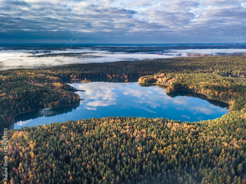 Aerial autumn view of lake in Lithuania © lukjonis