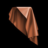 3d render, digital illustration, abstract table cloth, flying, falling, soaring fabric, unveil drapery, orange silky curtain, corner, textile cover, isolated on black background