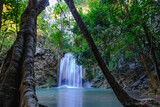 Erawan waterfall with beautiful in National Park , Kanchanaburi Province, Thailand.