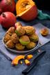 Pumpkin muffins, healthy autumn seasonal baked dessert