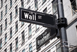 Road sign of New York Wall street corner Broad street