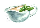 Bechamel sauce with basil leaves. Watercolor hand drawn illustration, isolated on white background - 229397696