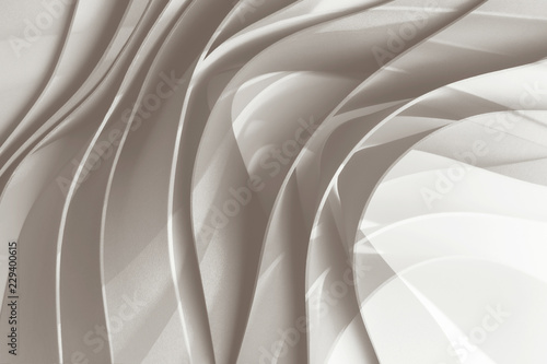 Curved elements on white background, stripe waves