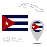 Flag. Pointer. Map of Cuba