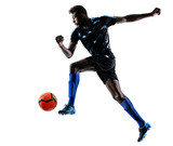 one african soccer player man playing in studio isolated on white background - 229403264