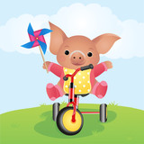 pig by bicycle