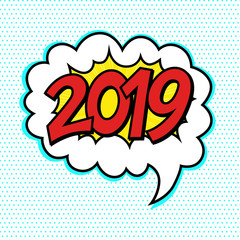 2019 comic text speech bubble, happy new year, christmas background, pop art style
