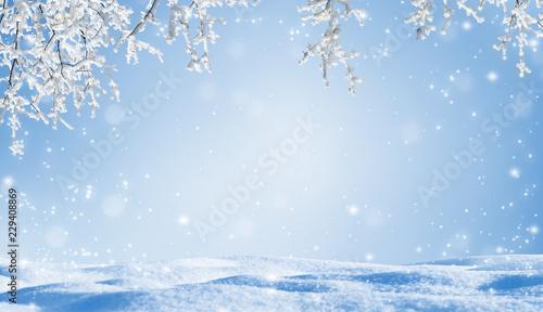 Leinwanddruck Bild unterm verschneiten baum