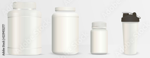 sports nutrition bottles mockup set realistic blank vector illustration milk white plastic containers pack