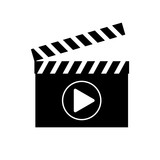 Movie clapper board icon , logo on white background , video