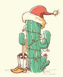 Cactus christmas in red Santa hat and cowboy shoes .Vector color hand drawn illustration - 229420242