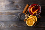 Mulled wine with assortment of spices - 229424238