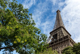 View of the Eiffel Tower in the city of Paris in sunny day with trees in the foreground.
