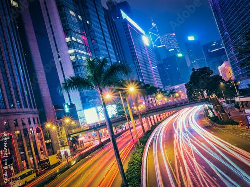 Poster Street traffic in Hong Kong at night
