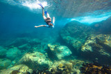 Young woman snorkeling in the blue waters of the popular Similan Islands in Thailand, one of the tourist attraction of the Andaman Sea. - 229440462