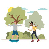 couple doing sports in landscape avatar character vector illustration design