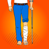 Pop art men legs in plaster, cane and support. Rehabilitation means. Raster imitation comic style.