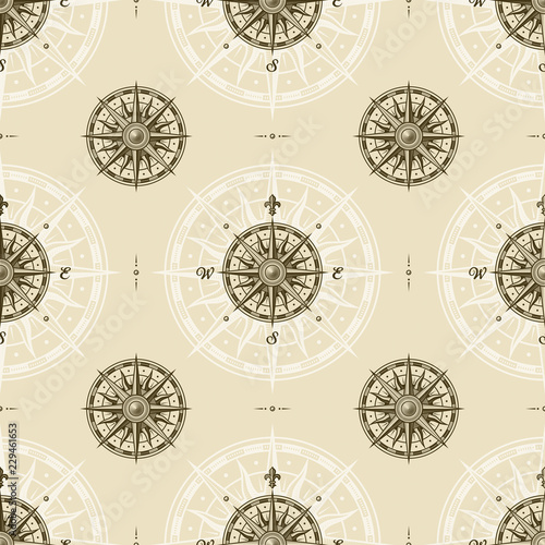 Seamless vintage compass rose pattern. Vector illustration in retro woodcut style with clipping mask.