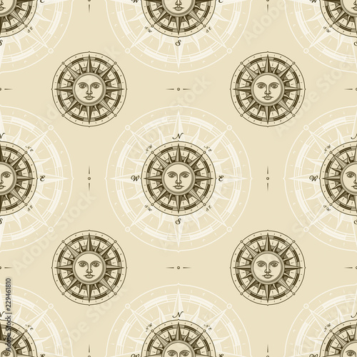 Seamless vintage sun compass rose pattern. Vector illustration in retro woodcut style with clipping mask.