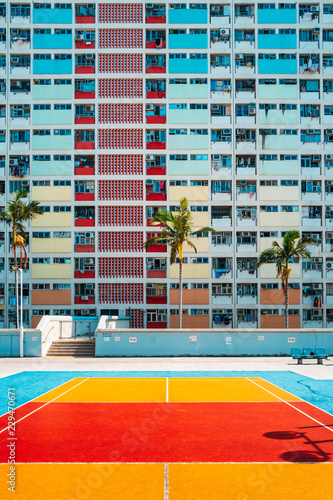 obraz PCV Colorful Pastel Badminton Court with windows Background.