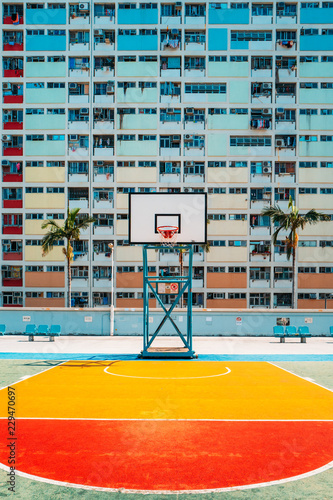 Colorful Pastel Basketball Court with windows Background.