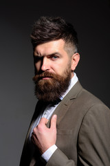 Follow sound business trends not fashion trends. Man with long beard in business wear. Bearded man after barber shop. Business as usual. Mens fashion. Ive been going to the same barber