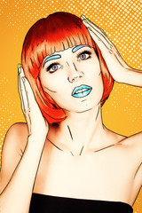 Portrait of young woman in comic pop art make-up style. Female in red wig on yellow - orange cartoon background