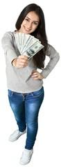 happy young woman holding dollar bills © BillionPhotos.com