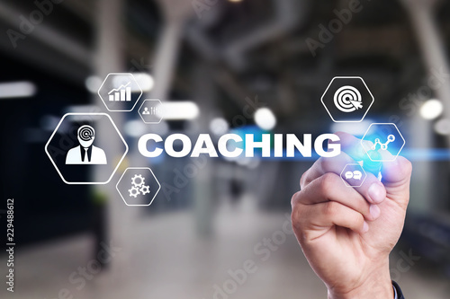 Coaching and mentoring on virtual screen. Personal development concept.