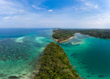 Aerial view tropical beach island reef caribbean sea. Indonesia Moluccas archipelago, Kei Islands, Banda Sea. Top travel destination, best diving snorkeling, stunning panorama. - 229491819