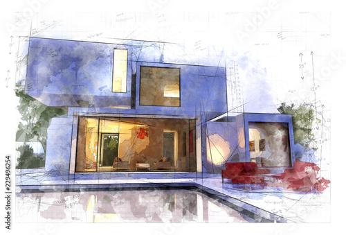 Leinwandbild Motiv Artistic architecture draft
