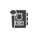Detective note book and brush vector icon. filled flat sign for mobile concept and web design. Police Agenda simple solid icon. Symbol, logo illustration. Pixel perfect vector graphics - 229496496