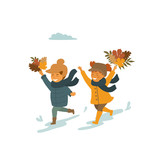 cute children, boy and girl running with autumn fall leaves in the park isolated vector illustration scene