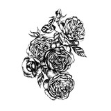 Beautiful graphic bouquet with flowers rose   - 229503071