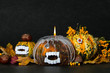 Three scary and ugly pumpkins for halloween