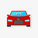 Happy Red Car Emoji, Cartoon funny car sticker