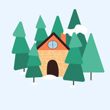 Winter landscape with a house in the forest. Moder flat design.