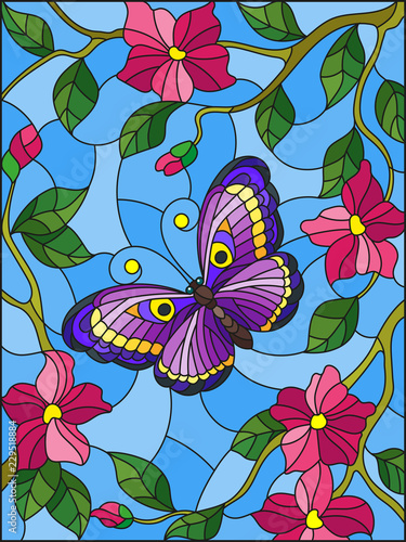 illustration-in-stained-glass-style-with-a-bright-butterfly-on-a-background-of-flowers-and-sky