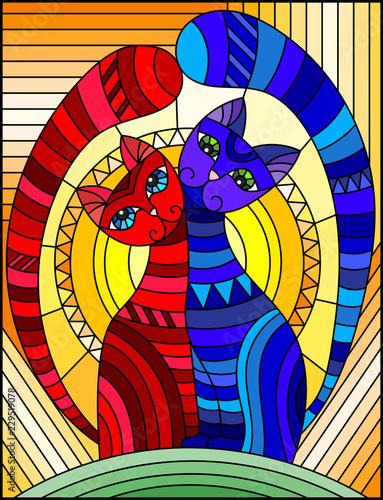 ilustracja-w-stylu-witrazu-z-para-abstrakcyjnych-geometrycznych-kotow-na