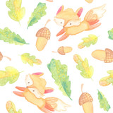 cartoon seamless pattern. watercolor illustration. autumn, harvest, leaves, baby fox, mushrooms, berries, oak on white background