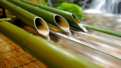 Close up of bamboo decoration in traditional Japan zen